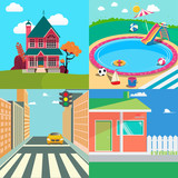 Landscapes Set. Countryside Landscape. Outside Swimming Pool, Cityscape. Vector background