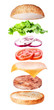 Flying burger ingredients isolated