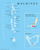 Maldives political map with capital Male on Kings Island and important towns. Republic and island country in the Indian Ocean. A chain of twenty six atolls. English labeling. Detailed Illustration. - 116118866