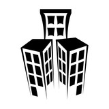 Tower building real estate , isolated flat icon with black and white colors.