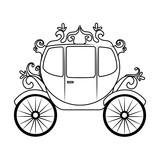 Horse carriage object, isolated flat icon design.