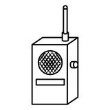 Radio transmitter device ,isolated black and white flat icon design