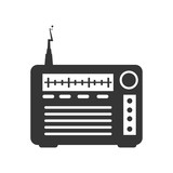 Radio transmitter device ,isolated black and white flat icon design