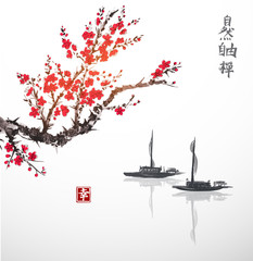Oriental sakura cherry tree in blossom and two fishing boats in water. Contains hieroglyphs - zen, freedom, nature, happiness. Traditional oriental ink painting sumi-e, u-sin, go-hua.