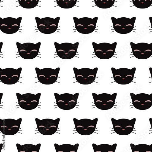 Fototapeta Seamless pattern with kitty faces. Vector seamless texture for wallpapers, pattern fills, web page backgrounds