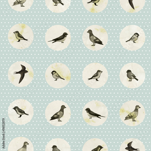 Vintage seamless pattern with cute little birds. Vector seamless texture for wallpapers, pattern fills, web page backgrounds - 116152879
