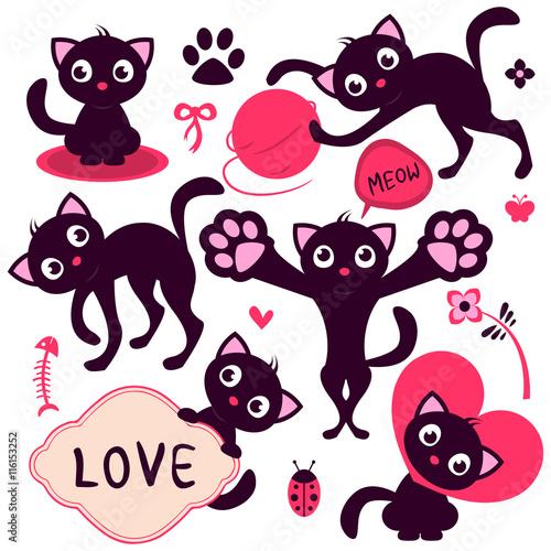 fototapeta na ścianę Set of cute playful cartoon kittens