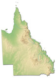 Relief map - Queensland (Australia) - 3D-Rendering