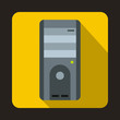 Computer system unit icon in flat style on a yellow background
