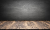wooden table with blackboard - 116170271