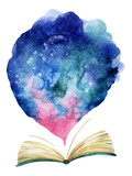 Fototapety Watercolor open book with magic cloud.