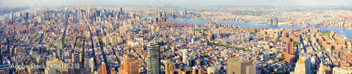 New York City Manhattan skyline panorama, aerial view