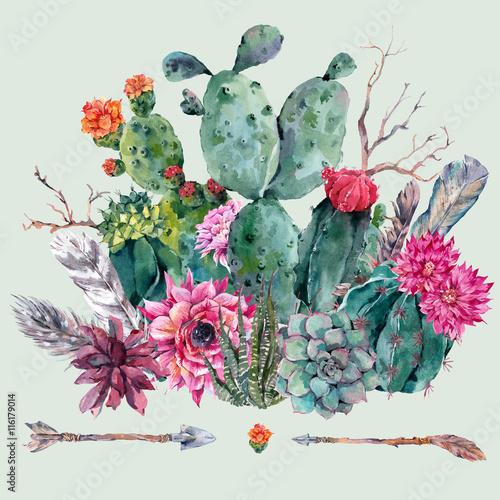 Obraz Watercolor cactus, succulent, flowers