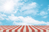 Outdoor picnic background in summer sun light.