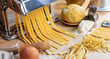 Fresh tagliatelle pasta homemade preparation