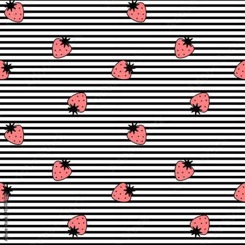 Fototapeta cute black white stripes seamless vector pattern background illustration with strawberry