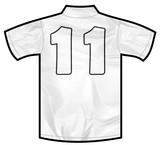 Number 11 eleven white sport shirt as a soccer,hockey,basket,rugby, baseball, volley or football team t-shirt. Like German or England or USA national team