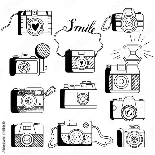 Photo cameras vector set