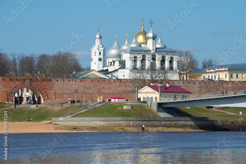 Poster View on the citadel and domes of Novgorod Kremlin, sunny april day