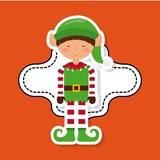 Elf cartoon icon. Merry Christmas design. Vector graphic