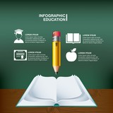 Pencil book and icon set. Infographic education design. Vector g