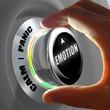 Main sélectionnant entre l'émotion entre calme et panique. Concept de contrôle des émotions. Rendu 3D