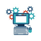 Computer gears website icon. Media design. Vector graphic