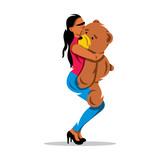 Vector Woman with Teddy Bear Cartoon Illustration.