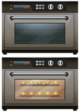 Oven with and without food in it