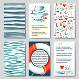Set of 6 cards templates with sea background