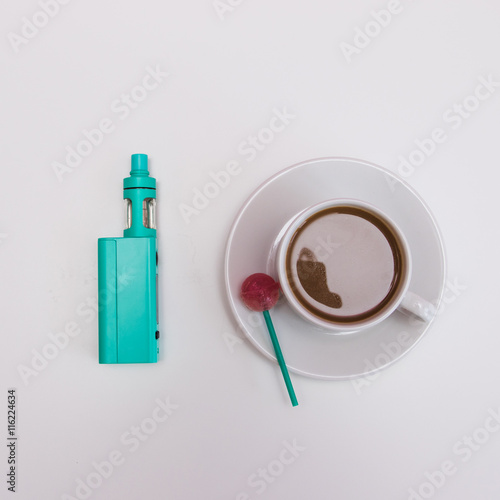 Plakat green electronic cigarette in set of hipster morning