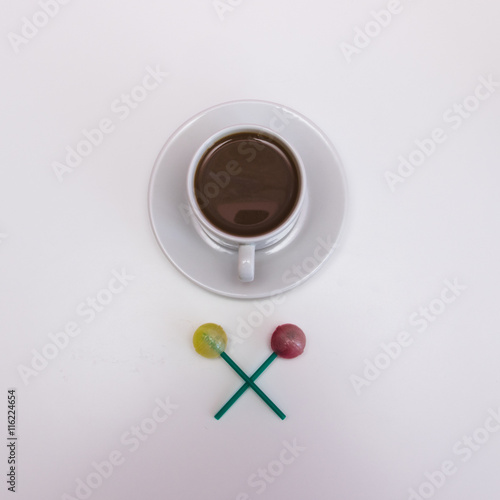 Plakat Morning cacao in white cup with sweets