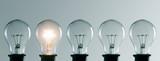 Row of light bulbs. Idea concept