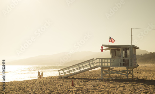 fototapeta na ścianę Santa Monica beach lifeguard tower in California USA