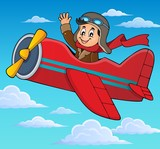 Pilot in retro airplane theme image 3