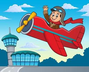 Pilot in retro airplane theme image 2