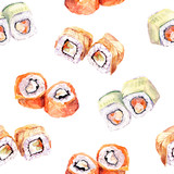 Sushi roll seamless pattern. Watercolor