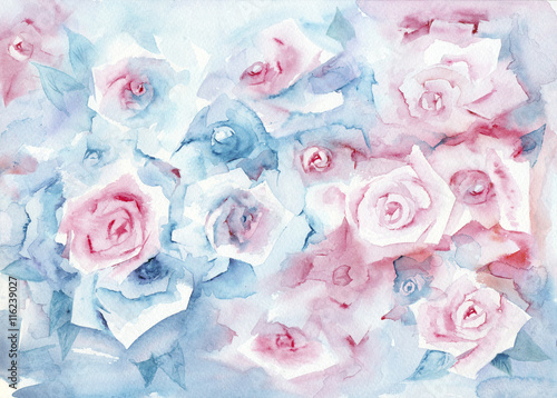 Obraz Watercolor painting roses. Delicate pastel background with pink and blue flowers.