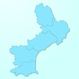 Languedoc-Roussillon blue map on degraded background vector