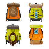 Backpack in a flat stzle. Vector illustration. School bag.Travel, camping or hiking. Tourism. Luggage.