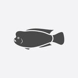 Stearocranus fish icon black simple. Singe aquarium fish icon from the sea,ocean life set - stock vector