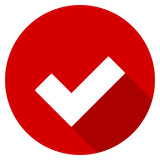 Flat design red round check vector icon