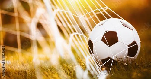 Tuinposter Bol Soccer ball in goal