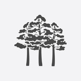Pine icon black simple. Singe forest icon from the big nature set.