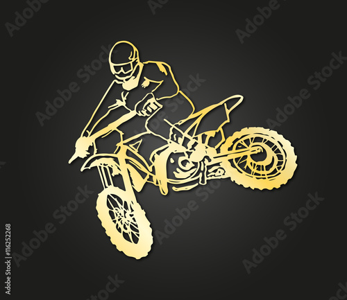 Naklejka motocross gold design
