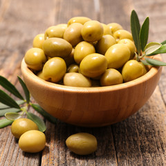 green olive and leaf