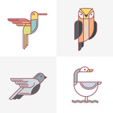 Set of vector birds logo icons. Colorful line birds illustration of hummingbird, owl, pigeon and swan. Isolated design elements on white background.