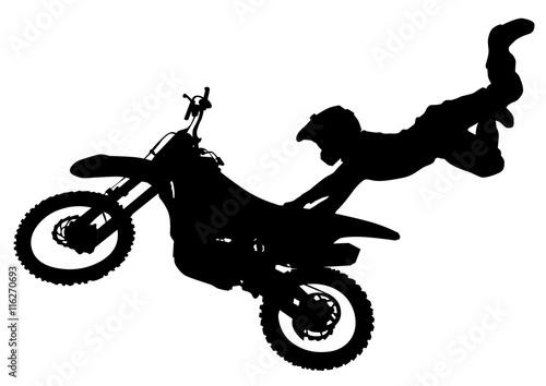 Naklejka Man on flying bike on white background