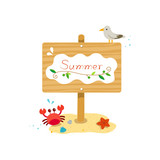Summer wooden sign with crab,starfish,seagull in the beach