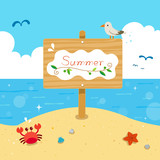 Summer wooden sign with sea background
